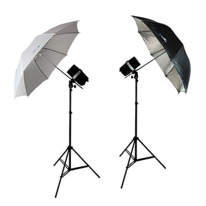 400 Watt Two Photo Studio Monolight Strobe Flash Umbrella Lighting Kits - 2 Studio Flash/Strobe, 2 Umbrellas, AGG338V2