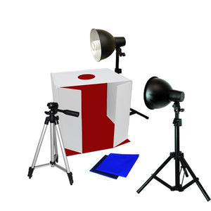"Studio Photography Softbox Tent Light Kit  - 25"" Tent with Front Side-by-Side Reflector, Light Adapter / Stand / Light Bulb with Camera Tripod, AGG350"