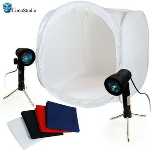 "Table Top Photography Softbox Studio Kit, 24"" Photo Soft Box Tent with Two Portable High-Output 50W Photo Lights, AGG372"