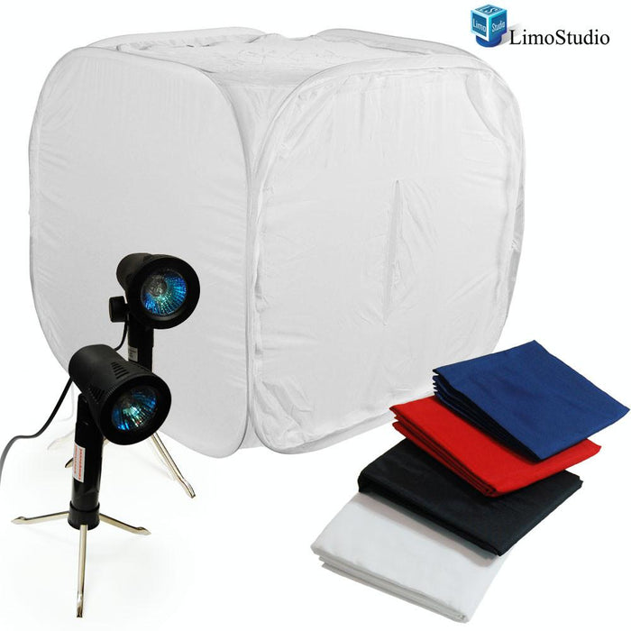"Table Top Photography Softbox Studio Kit, 30"" Photo Soft Box Tent with Two Portable High-Output 50W Photo Lights, AGG375"