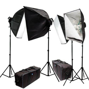 4000 Watt Digital Photography Photo Video Continuous Lighting Light Kit with Carrying Case - 4 light stands, 4 softboxes, 4 Light Heads w/5 bulbs, 20 photo bulbs, AGG383
