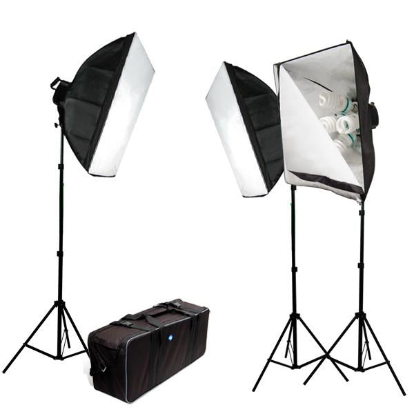 3000 Watt Photography Photo Digital Video Studio Continuous Lighting Light Kit with Carrying Case - 3 Light Stands, 3 Light Heads w/5 bulbs, 3 Softboxes, 15 Photo Bulbs, AGG386