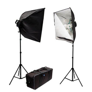 2000 Watt Photo Video Studio Continuous Light Softbox Kit, 2 x Softboxes, 2 x Light Stands with 5 Bulb Light Heads, 10 x 45 Watt 6500K Daylight Photo Bulbs, AGG390