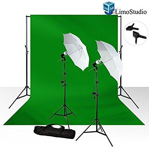 10 x 12 Photo Chromakey Chroma Key Green Screen Muslin Background Backdrop, Photography Studio Umbrella Light Lighting Kit Photography Studio Set For Professional Photographer, AGG410