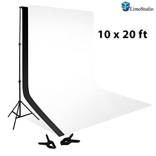 10 x 20 ft Muslin Backdrop Background White Black 100% with 10 x 12 ft Backdrop Support Kit Combo, AGG414V2