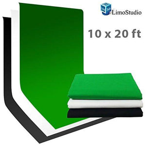 Muslin Photo Studio 10 x 20 ft White Muslin Background + 10 x 20 ft Black Muslin Background + 10 x 20 ft Green Chromakey Muslin Background, AGG418V2