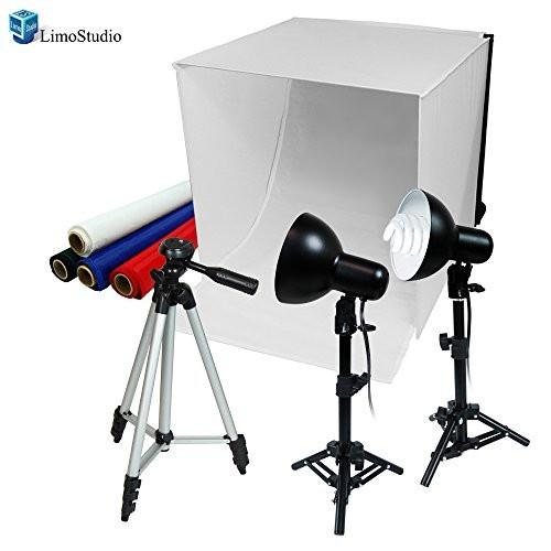 "25""x25"" Table Top Photography Studio Lighting Tent Kit, 2x 45W Portable Photo Light Stand Kit, 1x 50"" Camera Stand Tripod, AGG430"