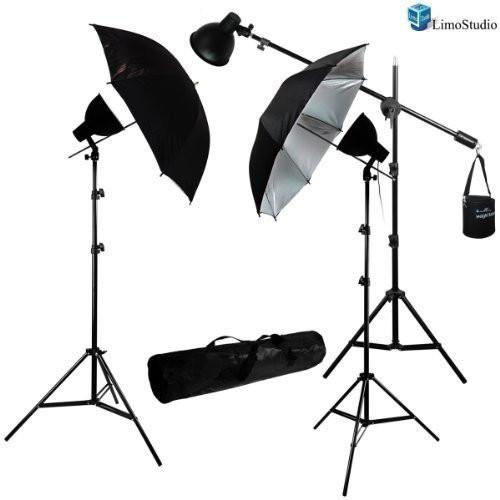 900 Watt Photography Studio Continuous Lighting Overhead Boom Light Kit w/ Photo Studio Umbrella Light Reflector Kit, AGG686
