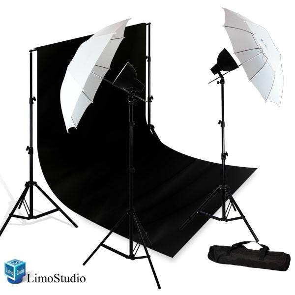 Photography studio 500w continuous umbrella lighting kit 10 x 13 black muslin studio backdrop with background support system carry case agg689v2