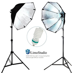 [2 SET] Photography Video Studio Continuous Softbox Lighting Light Kit with Photo CFL 6500 Bulb, AGG698V2