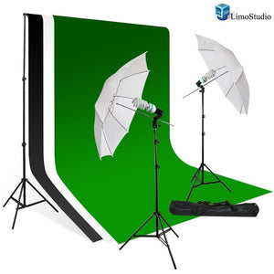 Photography Studio Lighting Kit, White Umbrella Light Muslin Backdrop, White Black Green Backdrop Kit AGG709