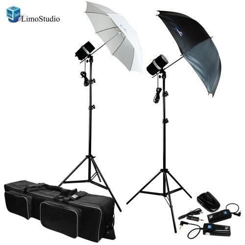 "200 Watt Photo Studio Lighting Strobe Flash Umbrella Light, 33"" Silver / Black / White Umbrella Lighting Kits with Heavy Duty Convenient Carry Case Bag, AGG710"