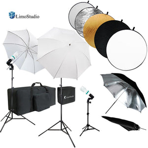 43 Inch Round Reflector Disc & Umbrella Reflector Photo Studio Continuous Lighting Kit, White & Silver Umbrella, Photo Bulb, Socket, Light Stand Tripod, Carry Bag, AGG738V3