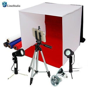 "Photography Photo Studio 16"" Table Top Photo Tent 600Lumes LED Lighting Kit with 41"" Camera Tripod & Spring Clip Cell Phone Holder, AGG778V2"