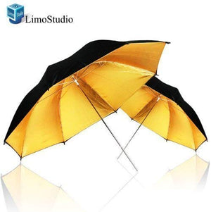 LimoStudio 2Pcs Photography Studio Double Layer Black & Gold Photo Umbrella Soft Light Box, SRE1118