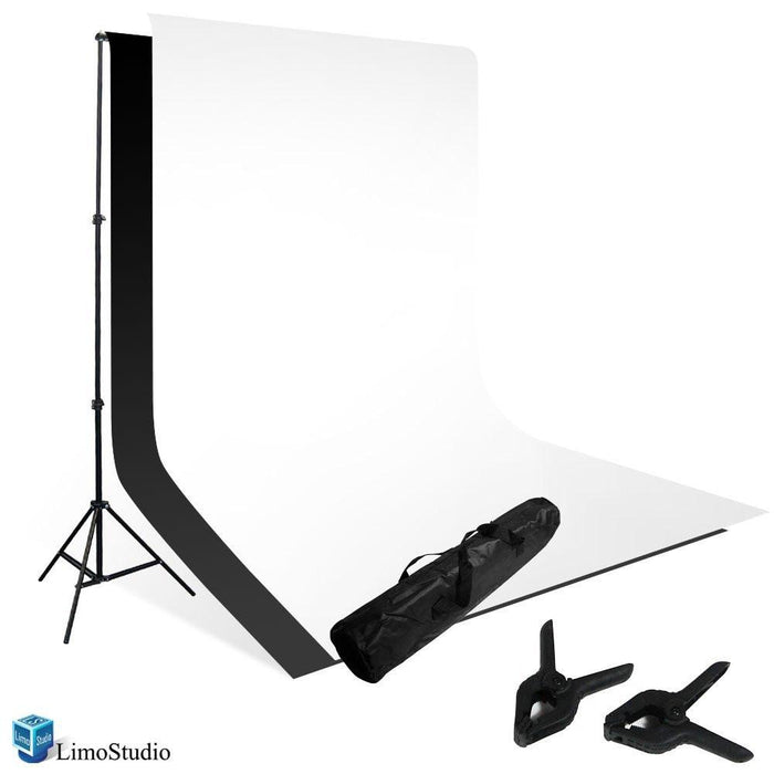 Photo Studio Black and White Backdrop Background Kit, Backdrop Support Stand with Carry Bag, AGG795