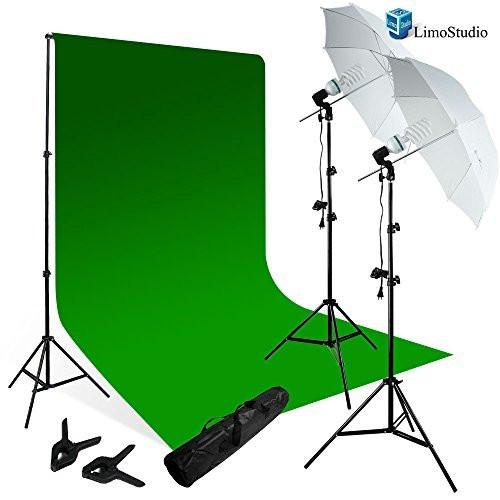 Photography Chromakey Studio Backdrop Lighting Kit Set, Green Chromakey Backdrop, (2) Umbrella Reflector Studio Lighting, Backdrop Support Stand wth Carry Bag, AGG798V2