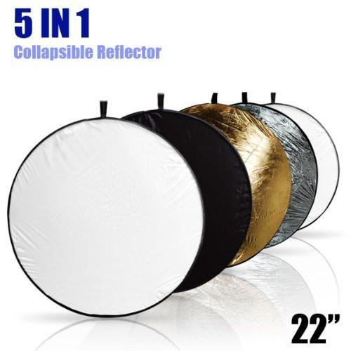 "5-in-1 Photo Studio Collapsible 22"" Light Reflector Disc Panel, White Black Gold Silver Translucent, AGG806"