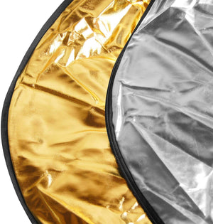 "LimoStudio 43"" Photography Photo Video Studio Lighting Disc Reflector, 5-in-1, 5 Colors, Black, White, Gold, Silver, Translucent, SRE1105"