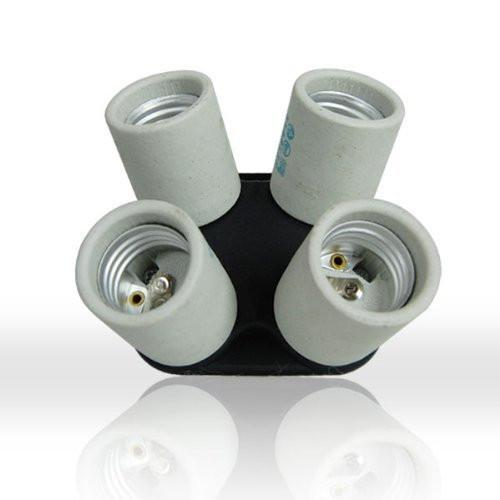 4 Socket Adapter 4 in 1 Adapter Holder E27 Bulb Lamp Light Socket Splitter UL Approved for Photo Studio Lighting, AGG813