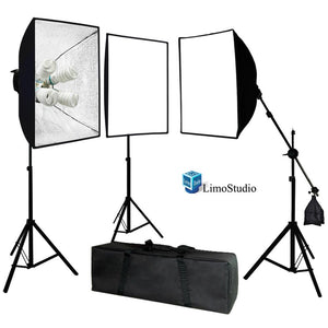 Photo Video Studio 2400 Watt Softbox Continuous Light Kit with Overhead Head Light Boom Kit, AGG891