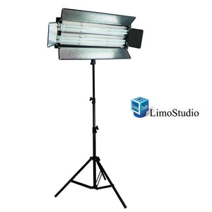 550 Watt Photo Studio Digital Lighting Fluorescent 2-bank Barndoor Light Panel with Heavy Duty Light Stand Kit, AGG895