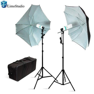 "600W Photography Studio 52"" Square Type Black/White 2 Umbrella Continuous Portable Light Lighting Kit, AGG933"