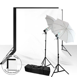 Photography Complete 400 Watt Studio Umbrella Light Kit with 6 x 9 ft. Muslin Background and Support Stand, AGG937