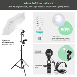 "2 Pack 33"" 3-Fold Ultra Compact White Translucent Soft Umbrella, 2 Pack 33"" Black/Silver Umbrella Reflector, 78-inch Light Stands, 6500K Continuous Lighting Bulbs, AGG3102"