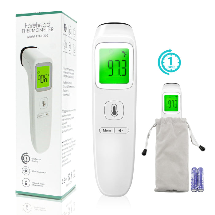 One Second Reading Touchless Forehead Thermometer for Baby, Kids, Adults, Elderly, Memory Function Indoor and Outdoor Use, SRE1449