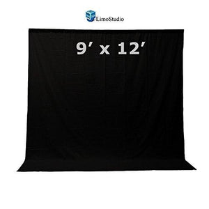 9 x 12 ft. Black Fabricated Muslin Backdrop Background Screen for Photo Video Photography Studio, AGG1863
