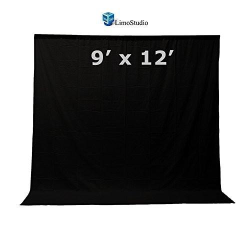 LimoStudio 9 feet X 13 feet Professional Photography Background Black Fabricated Muslin Backdrop for Photo Video Photography Studio, AGG1863
