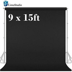 Photo Video Photography Studio 9x15ft Black Fabricated Backdrop Background Screen, AGG1857
