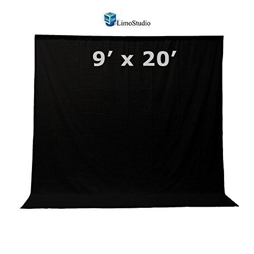 9x20 ft. Black Fabricated Muslin Backdrop Background Screen for Photo Video Photography Studio, AGG1865