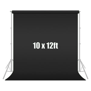 10 ft X 12 ft Black Chromakey Photo Video Photography Studio Fabric Backdrop Background Screen, SRE1048