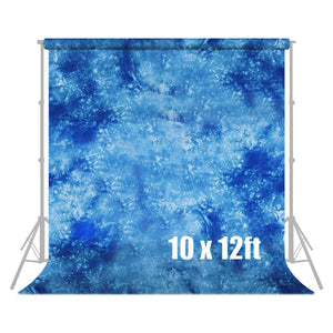 10 ft X 12 ft Hand Dyed Blue Muslin Photo Video Photography Studio Fabric Backdrop Background Screen, SRE1228