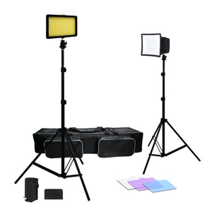 (60% Moving 3X 216 Barndoor Continuous LED Video Lighting kit Dimmable Panel Camera, for Canon, Nikon, Sony, Li-Ion Battery and Charger,Color Filters,Premium Carry Bag, SRE1211