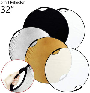 "32"" Handheld 5-in-1 Collapsible Lighting Reflector Disc Panel Light Diffuser for Photo Photography Studio, SRE1137"