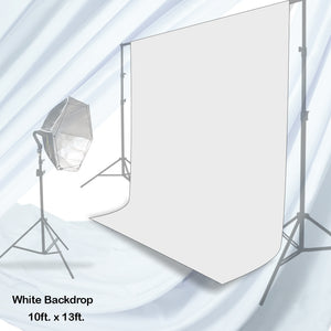 10 x 13 ft. White Chromakey Photo Video Studio Fabric Backdrop, Background Screen, Pure White Muslin, Photography Studio, SRE1146