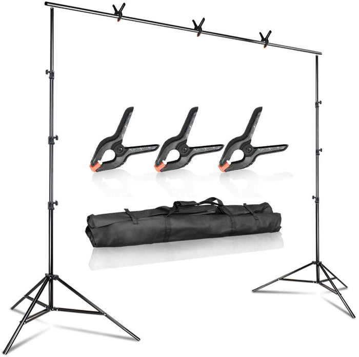 10 feet Wide 9.4 feet Tall Adjustable Background Muslin Support Structure System Stand and Cross Bar for Screen Backdrop with 3 Pack of Support Clamps, Stable Thick Pole, SRE1008