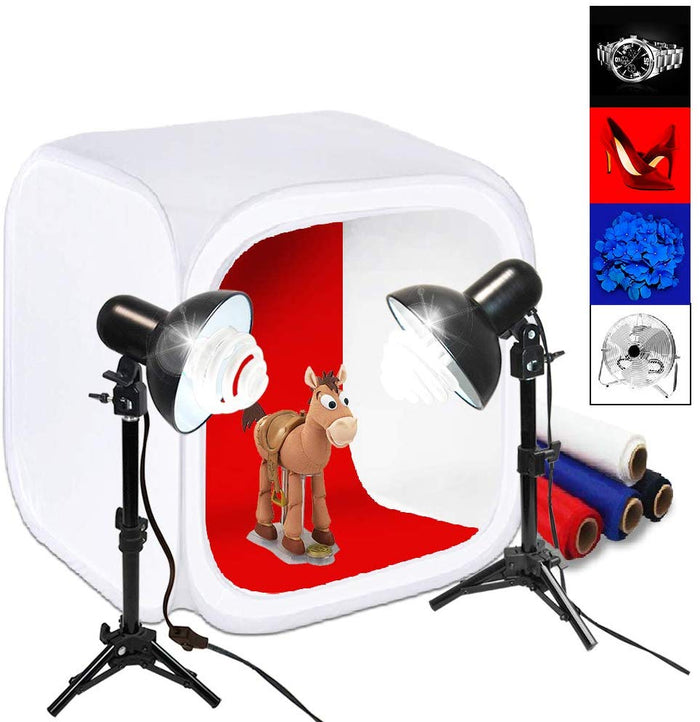 "30"" Cube Photo Shooting Tent with Color Backdrops, Table Top Photo Lighting Kit, Light Head Lamp, Spiral Photo Bulb, Small Light Stand Tripod, Photo Studio, SRE1304"