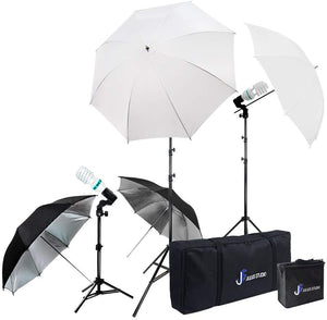 Photography Video Studio Portrait Lighting Kit, White & Black Umbrella Reflector, Continuous Bulb & Socket with Umbrella Insert, Light Stand Tripod, Carry Bag, Photo Studio, SRE1159