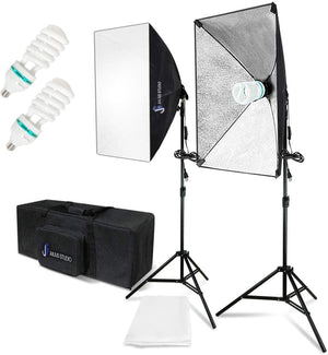 "Photography Continuous Equipment Softbox 800W Lighting Kit with E27 Socket Light and 20"" X 28"" Reflectors and 85W 6500K Bulbs for Video Camera Portraits Photo Studio, SRE1032"