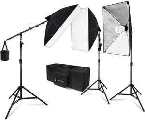 20 x 28 Inch Soft Box Lighting Kit with Bulb Socket, Boom Stand and Slope Arm Bar, 1200W Output Softbox Light for Video Camera Photography, Photo Portrait Studio, SRE1107