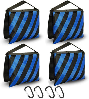 [4PACK] Heavy Duty Blue Stripe Weight Sandbags for Light Stand Tripod, Photo Video Studio, SRE1166