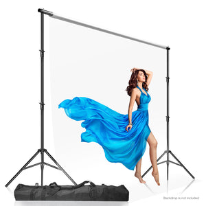 Photo Video Studio 10 x 9.4 feet (W x H) Length Adjustable Muslin Background Backdrop Support System, Backdrop Stand with Carry Bag, SRE1006