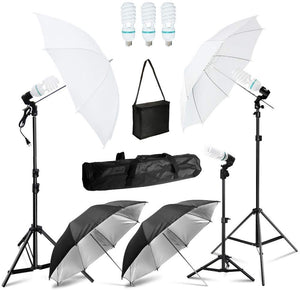Photography Umbrella Lighting Kit, 85W 6500K Photo Portrait Studio Day Light Umbrella Reflector Lights for Camera Shooting, SRE1301