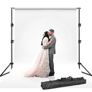 10' Photography Photo Muslin Background Support Kit, White Chroma Key Muslin Backdrops, Backdrop Support Stand with Carry Bag, SRE1205