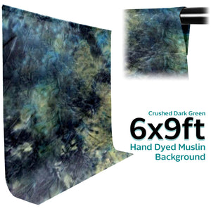 6 X 9 Ft Crushed Dark Green Hand Dyed Muslin Backdrop Background Screen for Photo Video Studio, SRE1230