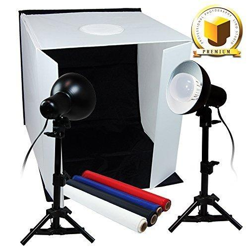 "PREMIUM PRO STUDIO TABLE TOP PHOTO STUDIO 16"" x 16"" SOFT TENT KIT WITH 800-900 LUMENS CONTINUOUS LED LIGHTS, LMP105"
